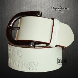 ~Pepe Jeans London Genuine Leather Pillow Emboss White Belt