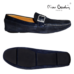 ~Pierre Cardin Velvet Navy Loafer With Buckled Monk Strap