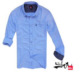 ~Quiksilver Midfit Light Blue Long Sleeve Cotton Shirt