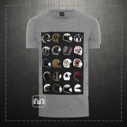 Replay Jeans Men Grey Marl Helmet Printed Graphic Crewneck Jersey Tshirt