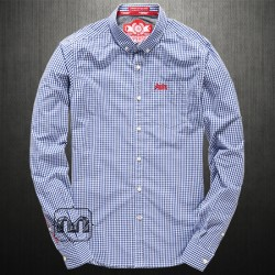 ~Superdry London Button Down Checkered Blue Gingham Full Sleeves Shirt