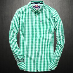 ~Superdry London Button Down Checkered Green Gingham Full Sleeves Shirt