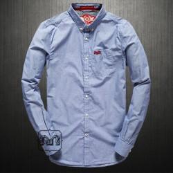 ~Superdry London Button Down Pencilstripe Blue Full Sleeves Shirt