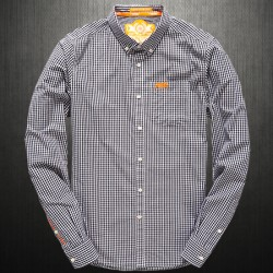 ~Superdry London Button Down Checkered Black Gingham Full Sleeves Shirt