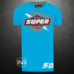 Superdry Mens Classic Reworked Dynamo Blue Graphic Printed Crewneck T Shirt