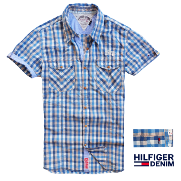 c5500440489c ~Tommy Hilfiger Denim Half Sleeve Blue Checks Shirt