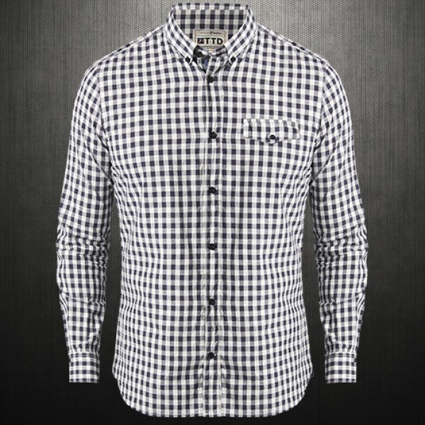 new authentic reasonable price official photos Tom Tailor Grey Checkered Button Down Long Sleeves Shirt ...