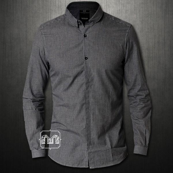 6b16bc14b4a0 ~Tom Tailor Slim Fit Dark Grey Mini Checks Two Buttonup Shirt Kent Collar    Malaabes Online Shopping Store in Egypt Promoting Original Mens Designer ...