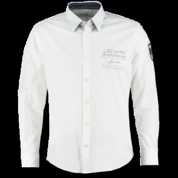 Tom tailor long sleeve shirt in white malaabes online for Ray donovan white dress shirt brand