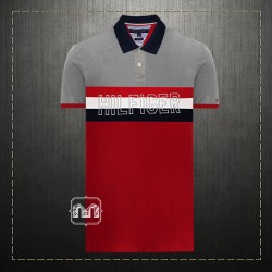 299831e3 Tommy Hilfiger Mens Custom Fit Two Toned Multicolored Polo Shirt Front  Embroidered Hilfiger Logo