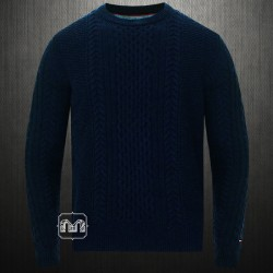 ~Tommy Hilfiger Navy Blue Cable Knit Crewneck Sweater