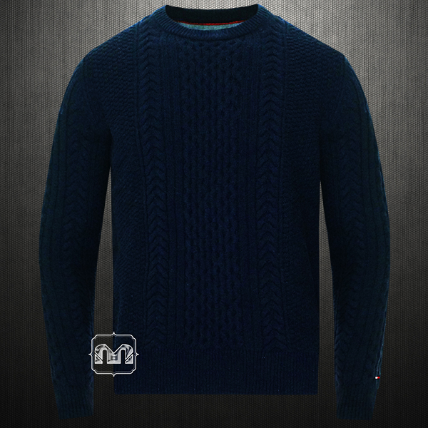 67773f75a37a ~Tommy Hilfiger Navy Blue Cable Knit Crewneck Sweater