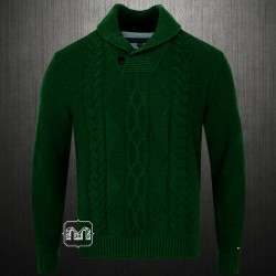 ~Tommy Hilfiger New George Larkspur Mens Cable Knit  Shawl Collar Dark Green Sweater