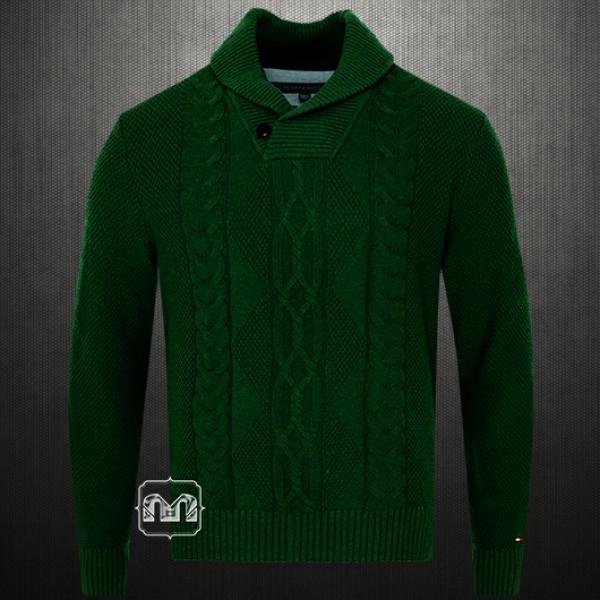 Tommy Hilfiger New George Larkspur Mens Cable Knit Shawl Collar Dark
