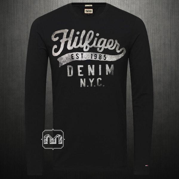 fe30ea78 ~Tommy Hilfiger Denim Men Printed Black Roundneck Full Sleeves Cotton Tshirt  White Distressed Print