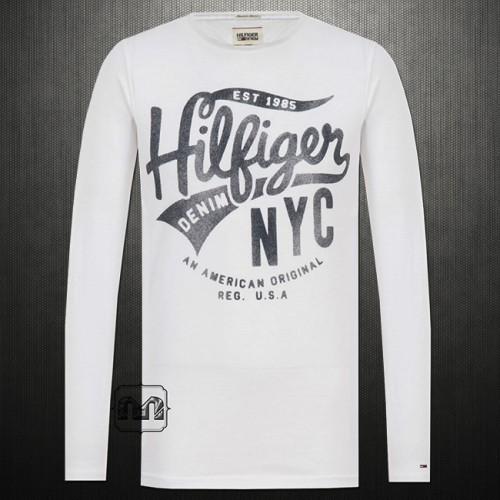Tommy Hilfiger Denim Men Printed Roundneck Long Sleeves Cotton Tshirt Classic White