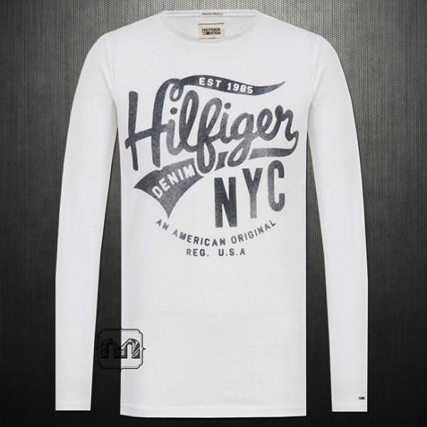 cb23a6708 Tommy Hilfiger Denim Men Printed Roundneck Long Sleeves Cotton Tshirt  Classic White