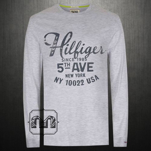 Tommy Hilfiger Denim Men Printed Light Grey Melange Roundneck Full Sleeves Tshirt