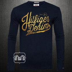 Tommy Hilfiger Denim Men Printed Navy Blue Crewneck Full Sleeves Tshirt