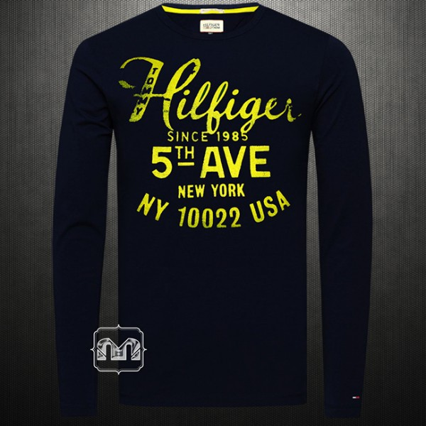 47847d39 ~Tommy Hilfiger Denim Men Printed Navy Blue 5th Avenue Crewneck Full Sleeves  Graphic Tshirt | Malaabes Online Shopping Store in Egypt Promoting Original  ...