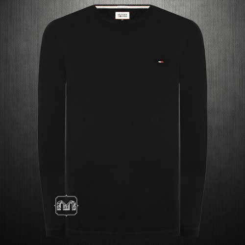 ~Tommy Hilfiger Denim Men Solid Black Trump Roundneck Full Sleeves Cotton Tshirt