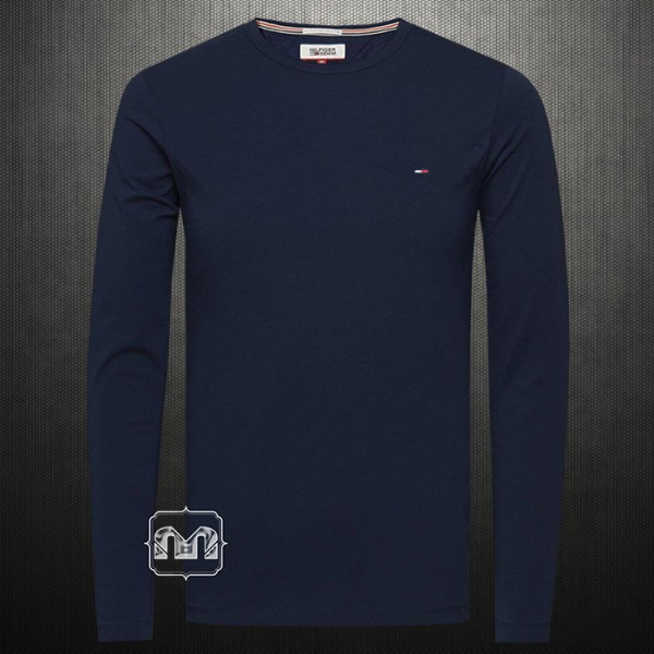 fa496130 ~Tommy Hilfiger Denim Men Solid Navy Blue Trump Roundneck Full Sleeves  Cotton Tshirt | Malaabes Online Shopping Store in Egypt Promoting Original  Mens ...
