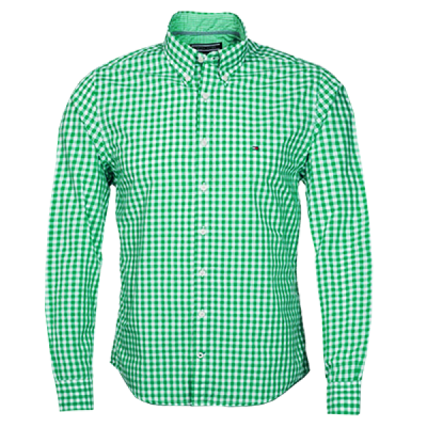 a9a5c2a9a ~Tommy Hilfiger Green White Checkered Shirt New York Fit