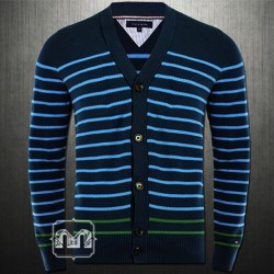~Tommy Hilfiger Navy Blue Buttonup Yneck Cardigan Sweater New York Fit