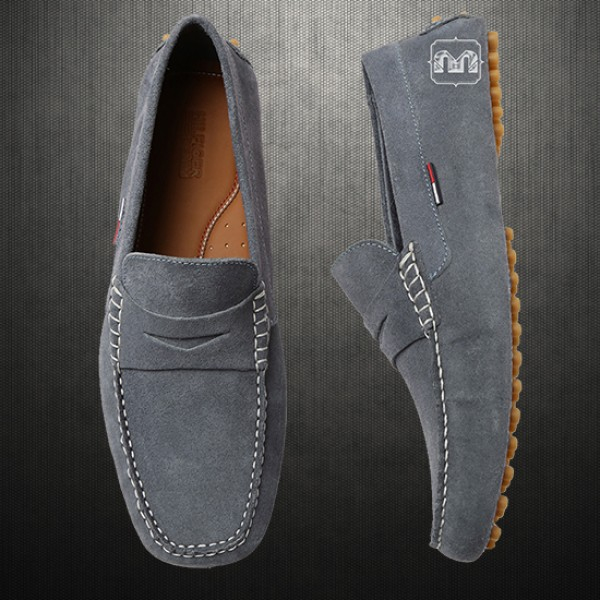 3bdd7cc07 Tommy Hilfiger Men Suede Leather Grey Loafer Moccasins Driving Shoes ...