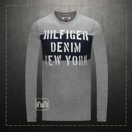 325f0177 Tommy Hilfiger Denim Men Printed Grey Melange Crewneck Long Sleeves Tshirt  | Malaabes Online Shopping Store in Egypt Promoting Original Mens Designer  ...
