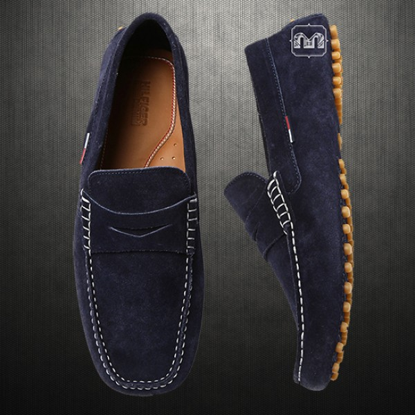 41cc904bc ~Tommy Hilfiger Men Suede Leather Navy Blue Loafer Moccasins Driving Shoes