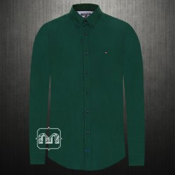 ~Tommy Hilfiger Men Solid Dark Green Casual Stretch Shirt Button Down Collar