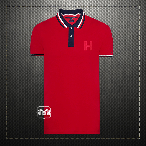 Tommy Hilfiger Mens Custom Fit Two Toned Red Polo Shirt H Logo Bold Tipped  Collar