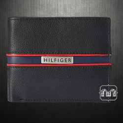~Tommy Hilfiger Mens Classic Phoenix Black Leather Bifold Wallet Passcase