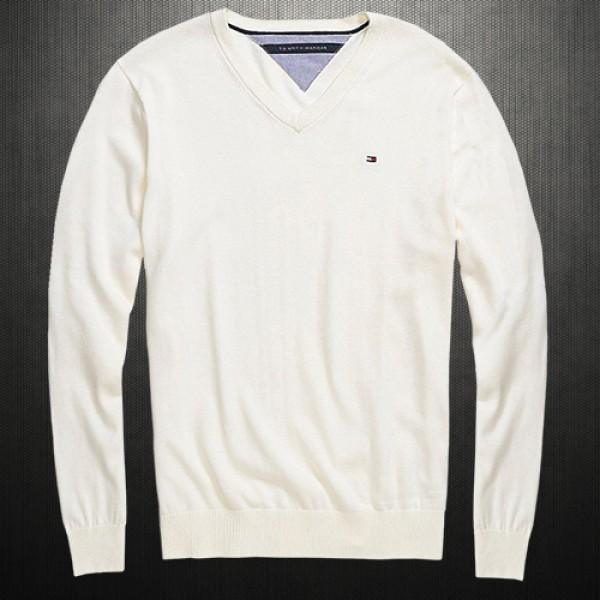 d52ed43be952 ~Tommy Hilfiger Vneck Offwhite New York Jumper Sweater