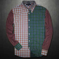 ~Tommy Hilfiger Vintage Plaid Colorblock Checkered Shirt Limited Edition