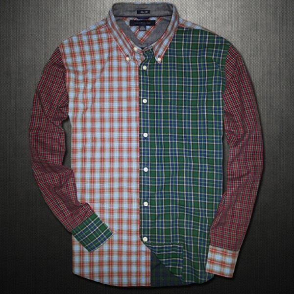 0b25b7d8a47 ~Tommy Hilfiger Vintage Plaid Colorblock Checkered Shirt Limited Edition
