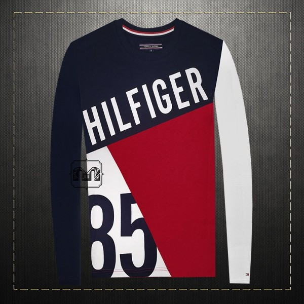 092e70747 ~Tommy Hilfiger Men Navy Red Printed Multicolored Crewneck Long Sleeves  Colorblock Graphic Tshirt 85 | Malaabes Online Shopping Store in Egypt  Promoting ...