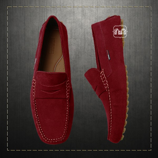b179c683e Tommy Hilfiger Men Suede Leather Red Loafer Moccasins Driving Shoes ...