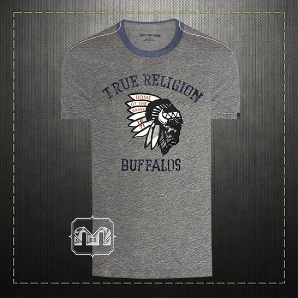 bd233c95d True Religion Men Grey Buffalo Home Of The Brave Graphic Printed Crewneck T  Shirt | Malaabes Online Shopping Store in Egypt Promoting Original Mens  Designer ...