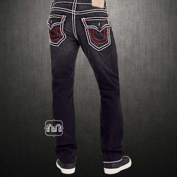 0237a799b ~True Religion Men Black Dark Desire Straight Rope Stitch White Red Denim  Jeans With Flap