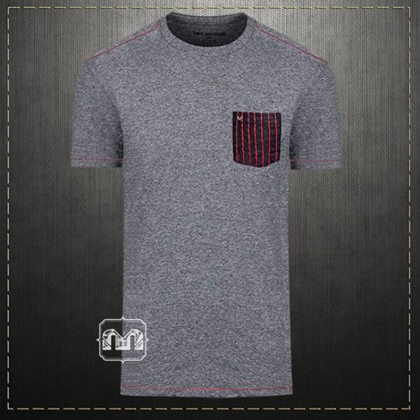 661f397545 True Religion Men Grey Marl Crewneck Tshirt Super T Stitch Pocket Tee Metal  Horseshoe Logo Red Stitch | Malaabes Online Shopping Store in Egypt  Promoting ...