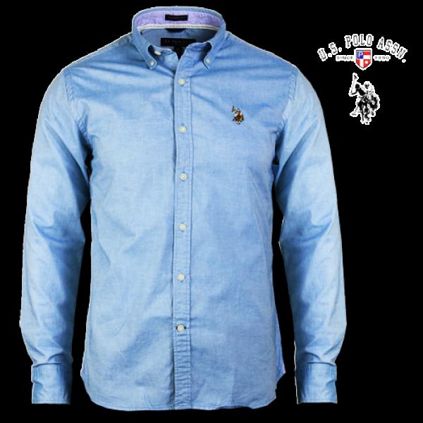 ~US Polo Assn Small Pony Multicolored Logo Long Sleeve Light Blue Shirt