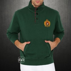 US Polo Assn USPA Men Green Buttoned Sweater With Chest Embroidery & Elbow Patches