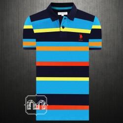 ~US Polo Assn Men Blue Orange Multistriped Polo Shirt Small Pony Chest Logo Embroidery