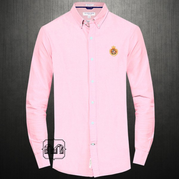 US Polo Assn Baby Pink Button Down Solid Shirt With Chest ...