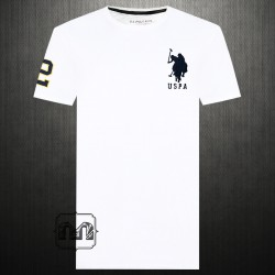 ~US Polo Assn White Crewneck Tshirt Big Pony Logo & Number 2 Embroidery On Arm