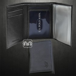 ~US Polo Assn Genuine Black Leather Trifold Passcase WIth Removable Credit Cards Sleeves