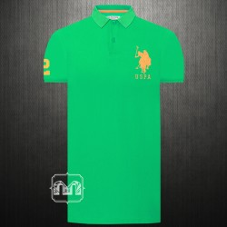 ~US Polo Assn Men Solid Fluorescent Green Polo T shirt Big Pony Embroidery Number 2