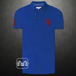 US Polo Assn Men Solid Blue Polo Tshirt Big Pony Chest Embroidery & Number 3 On Right Arm